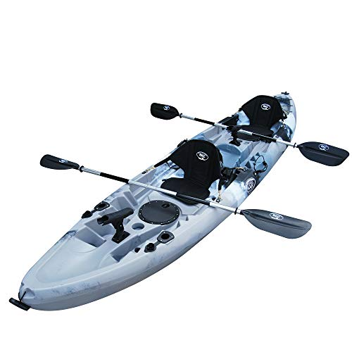 """BKC TK219K 12' 6"""" Tandem 2 or 3 Person SIt On Top Kayak w/Soft Padded Seats, 2 Paddles and 6 Fishing Rod Holders Included - 2-3 Person Fishing Kayak"""