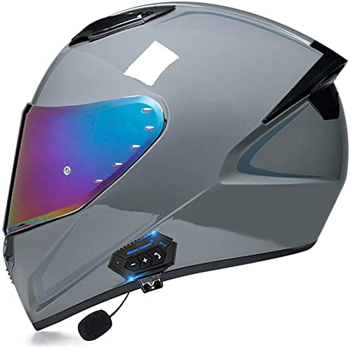 Egrus Casco Integral de Casco de Motocicleta Bluetooth Casco de Rodillo de Casco Plegable con visión Doble Casco de certificación ECE para Mujeres Hombres Adulto a, XL = 59-60 cm