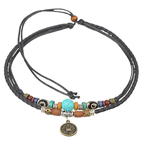 Ancient Tribe - Collana girocollo in pelle di canapa regolabile, unisex, con perline turchese