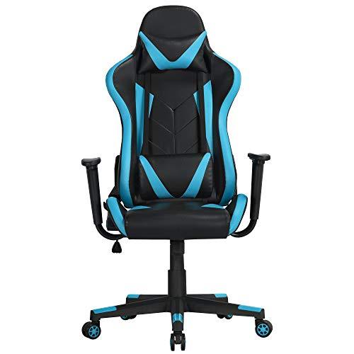 Yaheetech Gaming Stuhl Bürostuhl Drehstuhl Sportsitz Chefsesse Ergonomisches Design mit Wippfunktion Gamer Stuhl Höhenverstellbarer Kunstleder Racingstuhl (Schwarz-neonblau)