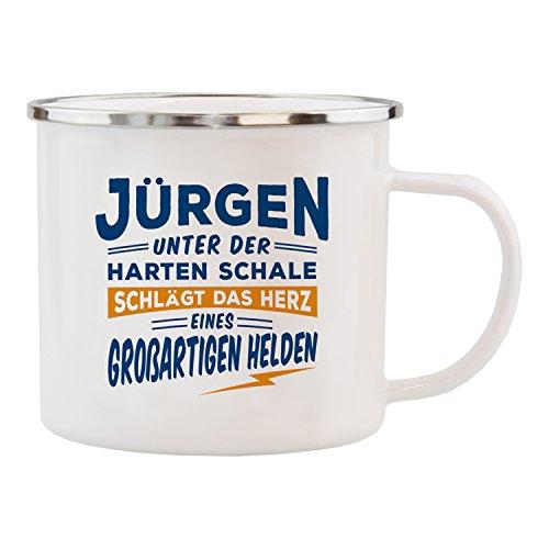 History & Heraldry Echter Kerl Emaille Becher, Jürgen, Mehrfarbig