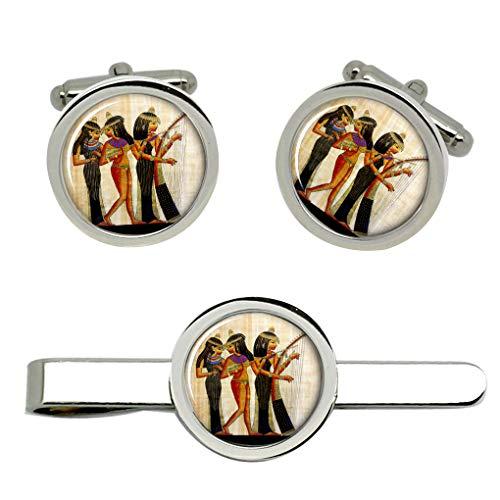 Giftshop UK Antiguo Egipcio Músicos Gemelos y Corbata Clip Set