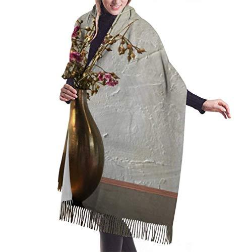 JONINOT Klassischer Kaschmir Feel Unisex Winterschal, rosa schade trockene Blume goldene Vase lange große warme Schals Wickelschal gestohlen