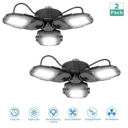 80W LED Garage Lights, Deformable Garage Light with 3 Adjustable Wings, 8000LM, E26 LED Shop Light, Barn Light, High Bay Light, Ceiling Lighting Fixture for Warehouse (No Motion Detection)