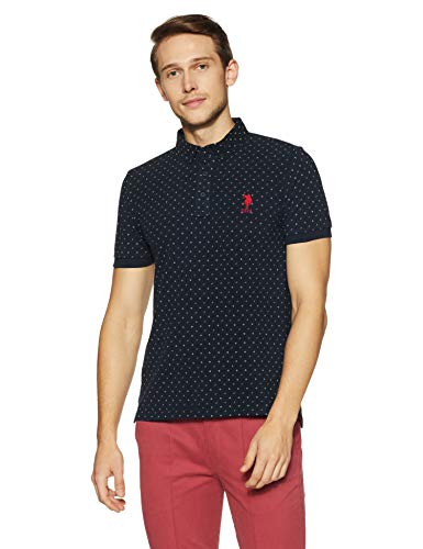 US Polo Men's Solid Regular Fit T-Shirt (USTS5896_Navy_M HS)