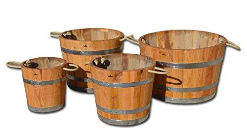 Blumentopf, Blumenkübel aus Kastanien-Holz - Fass, Holzfass als Pflanzkübel - Bottich, Holzkübel geölt und mit Halteschlaufen (D40 H35cm geölt + Schlaufen)