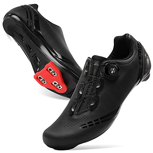 BARERUN Women Bike Shoes with Delta Cleats Set SPD Men Spinning Cycling Shoes Compatible with Peloton/Look Delta Pedals Black 7.5 Women 5.5 Men
