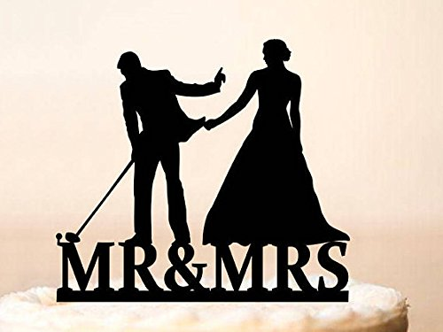 Wedding Cake Topper,Golf Wedding Cake Topper,Bride Pulling Groom,Cake Topper Golf,Lover Ever Golf Cake Topper,Bride & Groom Golf Theme