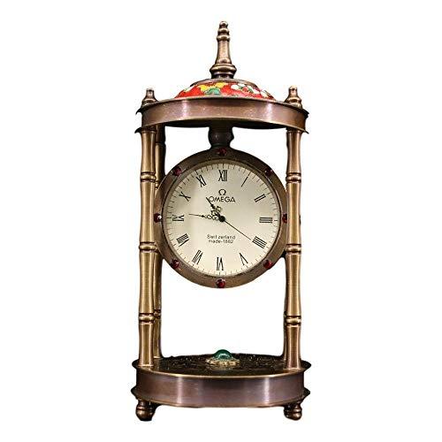 LAOJUNLU Cobre puro con incrustaciones de piedras preciosas relojes clásicos relojes de alarma mecánicos anticuados cepillados relojes de mesa decoración del hogar