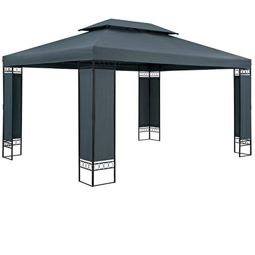 Casaria Pavillon Elda 3x4m Anthrazit Stabil Wasserabweisend Metall Luxus Gartenpavillon Festzelt Partyzelt Gartenzelt Zelt