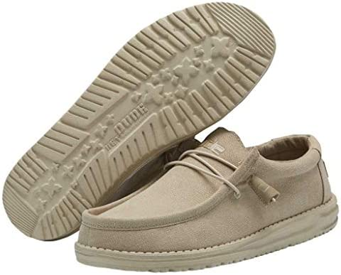 Hey Dude Wally Stretch Men/'s Beige Fabric with Synthetic Sole Casual Shoes US 12