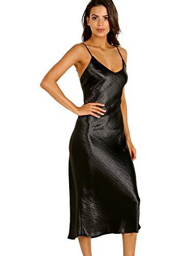 LNA Clothing Shine Slip Dress Black