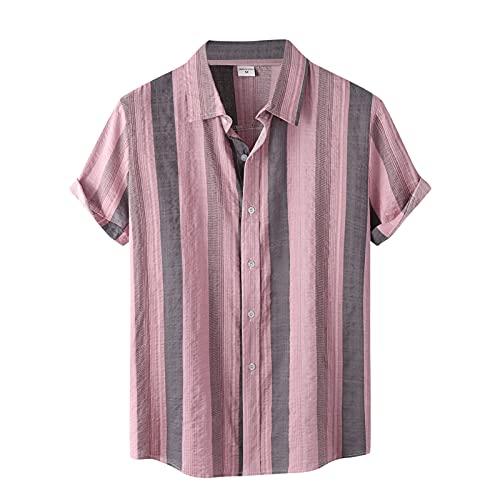 Camisa de manga corta para hombre, de verano, con solapas, con estampado de flores, para el tiempo libre, para la playa H rosa XL