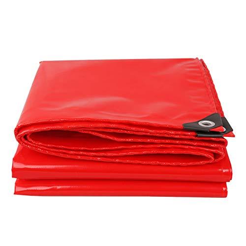 GHHZZQ Lona Alquitranada con Ojales Resistencia Al Desgarro Cubierta de Lona for Granja Muelle Jardinería Cámping de Viaje Impermeable, Rojo, 0,42 mm Espesor (Color : Red, Size : 6x6m)