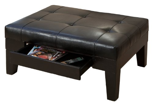 Christopher Knight Home Tucson Coffee Table, Brown - Features square tapered hardwood legs that protect your floor A hidden slide-out drawer for placement of remotes, book or magazines Designed with inviting leather, it will complement any loveseat or sofa. - living-room-furniture, living-room, coffee-tables - 41iXQ+aECpL -