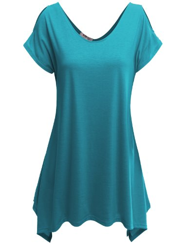 Doublju Womens Short Sleeve Cut-Out Shoulder Tunic Blouse Top TEAL LARGE