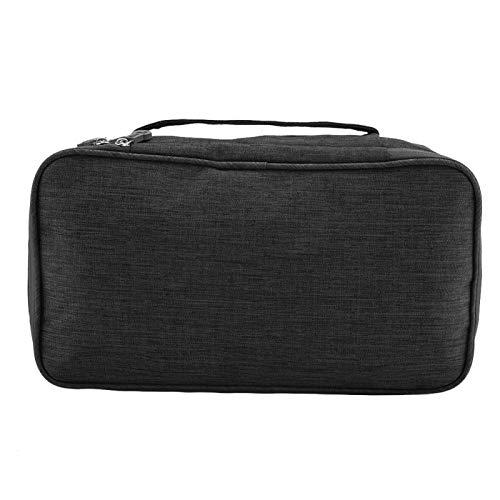 Bolsa de almacenamiento de viaje con estuche USB portátil, organizador de sujetador de viaje de 11 * 6.3 * 4.9 pulgadas, bolsa de poliéster para viajes de negocios(black)