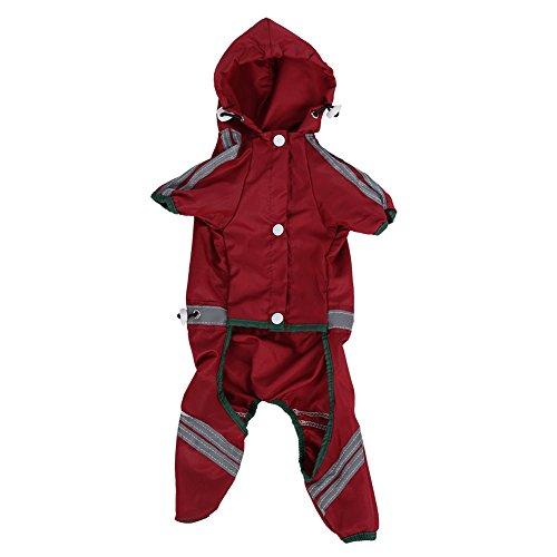 Chubasquero para mascotas, chaqueta impermeable, capucha para perros y gatos (rojo XS)