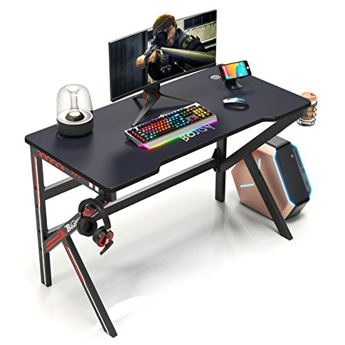 BOJOY Gaming Desk 47 inch PC Computer Desk, Home Office Desk Gaming Table K Shaped Gamer Workstation with Full Mouse Pad and Cell Phone Stands, Black