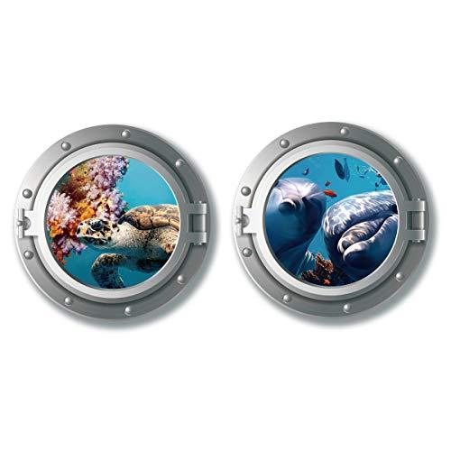 decalmile 2 Stück Wandtattoo 3D Bullauge Unterwasserwelt Wandaufkleber Fenster Schildkröten Delphin Wandsticker Babyzimmer Kinderzimmer Schlafzimmer Badezimmer Wanddeko (Durchmesser:43 cm)
