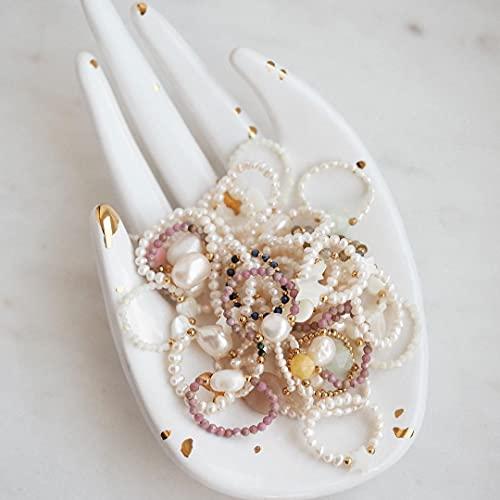 KEJI Anillos de piedra natural hechos a mano con cuentas de acero inoxidable Multi Color Stretch Rope Ring ajustable