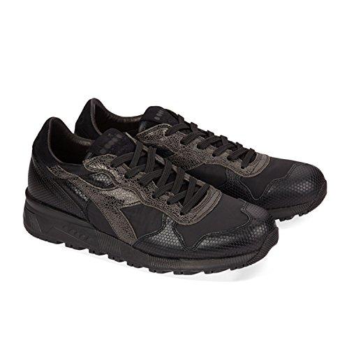 Diadora Heritage Herren Sneaker Trindent 90 ITA Black Pack aus Strukturiertem Leder im Materialmix – Schwarz, Größe:41