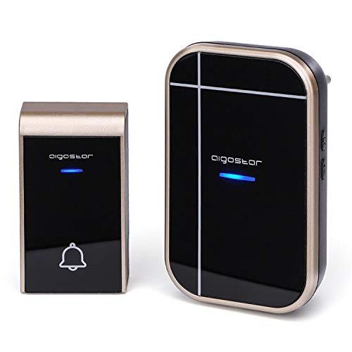 Aigostar Bell AC - Timbre inalámbrico, Timbre de Puerta con Indicadores LED, Resistente al Agua, 36 Melodías, 3 Niveles de Volumen, Timbre para Ancianos, Casa, Oficina (1 Receptor y 1 Transmisor)