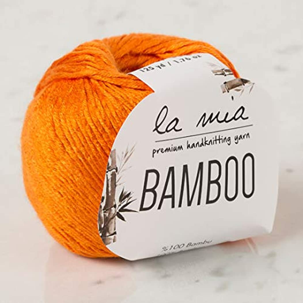 6 Pack La Mia Bamboo, 100% Bamboo, Total 10.58 Oz, Each 1.76 Oz (50g) / 125 Yrds (115 m), 3 : Light-Dk, Orange L150