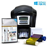 AlphaCard Compass Complete Photo ID Card Printer System with AlphaCard ID Software (Complete Bundle for PCs, One-Sided Printer)
