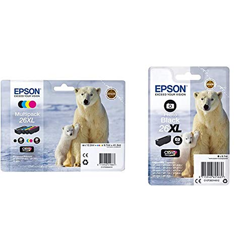 Epson Tinta Epson Multipack XL 26 (Set De 4) válido para los Modelos Expression Premium + C13T26314012 - Cartucho de tóner Adecuado para XP600, Color Foto Negro