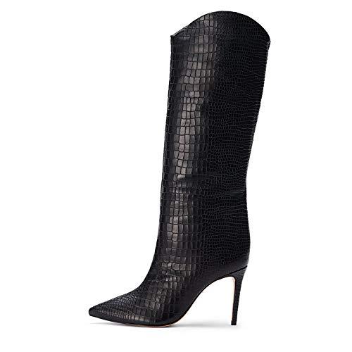 YOWAX Botas de tacón Alto para Mujer Tacón de Aguja Zapatos Delgados de Grano Oscuro Delgado Botas de tacón Alto de noche-35