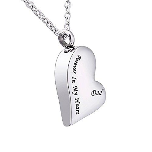 Anhänger-Gedenkurne-Halskette mit Gravur in Herz- / Tropfenform, Asche-Andenken, Verbrennung, Schmuck, edelstahl, Dad, 30mmx19mm