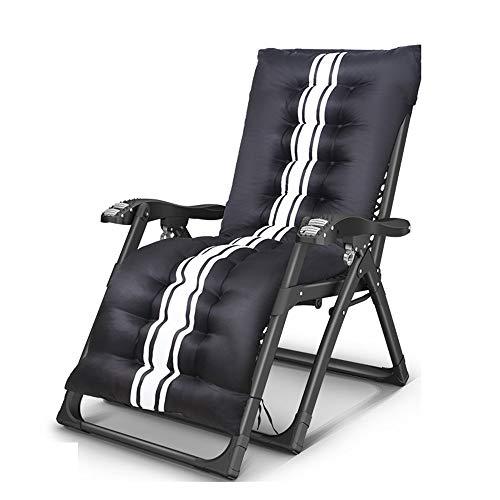 YLCJ Chaise longue Draagbare bank Vouwen voor thuisgebruik Siesta stoel + Armleuningen voor massages Multifunctionele rugleuning Deckchair Tuinbedden Kantoor Outdoor strandstoel met interieur Zwart Lijm B