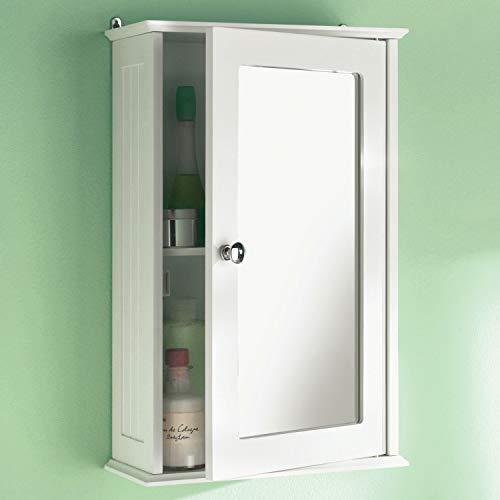 White Maine Single Mirrored Door Bathroom Cabinet