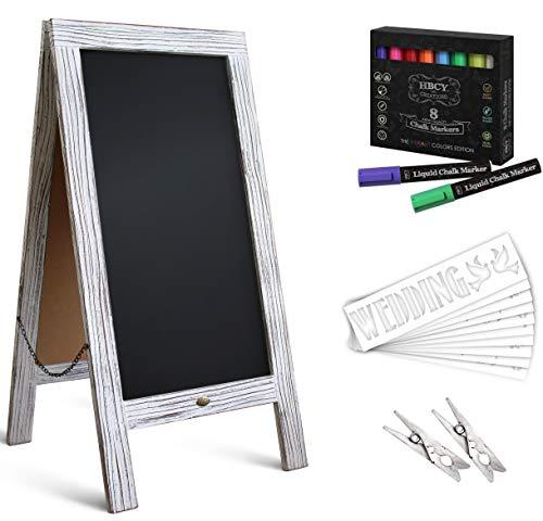 Rustic Magnetic A-Frame Chalkboard Deluxe Set / 8 Chalk Markers + 10 Stencils + 2 Magnets! Outdoor Sidewalk Chalkboard Sign / Large 40' x 20' Sturdy Sandwich Board (The Deluxe Set)