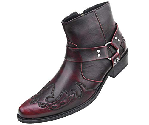 Amali Rancho - Men's Western Boots, Designer Cowboy Boots for Men, Manmade Leather - Wingtip High Rise Boots - Color: Burgundy - Size: 10.5 WEAR Wool Socks for Comfy FIT