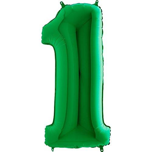 Zeus Party Palloncino Numero 1 Mylar Numero Colori Vari Altezza 100 cm Compleanno Festa Gas Elio (Verde)