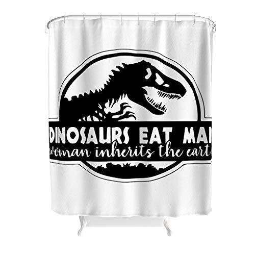 RQPPY Lustig Dinosaurier Essen Mann Duschvorhang Anti-Bakteriell Wasserabweisender Stoff Vorhang White 200x200cm