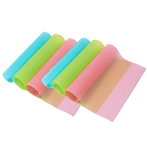OJYUDD - 6 alfombrillas de goma EVA para refrigerador, se pueden cortar, lavables, 2 rosas, 2 verdes y 2 azules