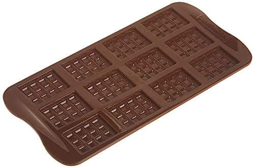 Silikomart 22.111.77.0065 SCG11 Moule pour Chocolat Forme Tablette 12 Cavités Silicone Marron