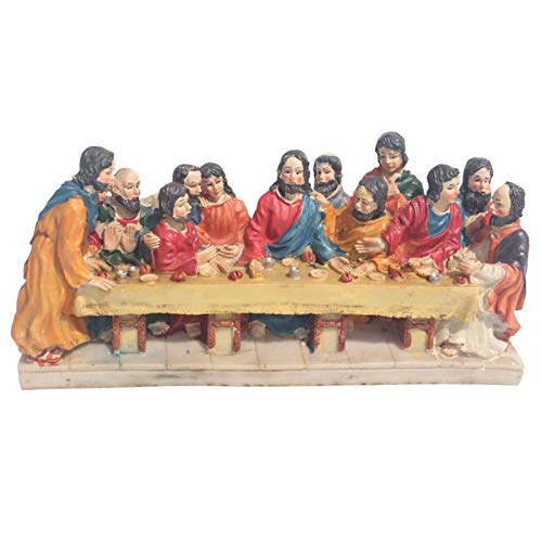 crazerop Jesus Last Supper Nativity Set Ornament Desktop Religious Sculpture Decoration, Christmas Nativity Resin Jesus Statue Perfect For Home Decoration, 26 X 8 X 12 CM