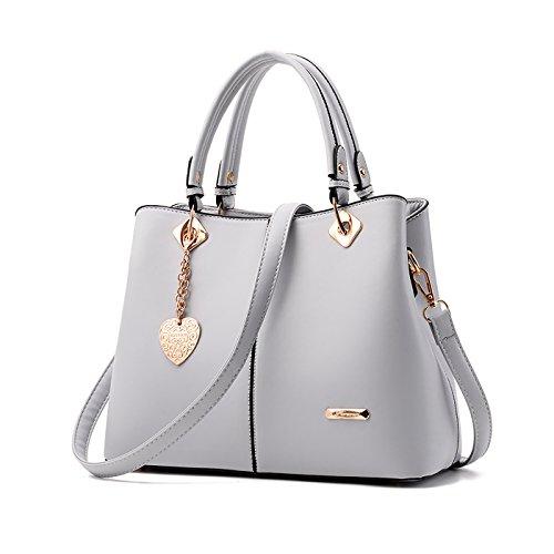 Tisdaini® Damenhandtaschen Mode Schultertaschen Shopper Umhängetaschen Grau