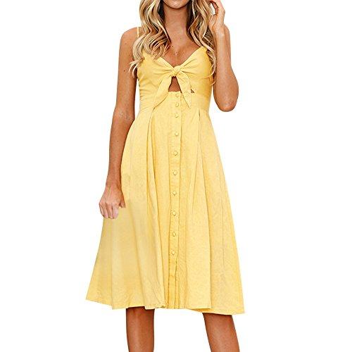 Msliy Damen Vintage Kleider Sommerkleid Bauchfrei Ärmellos Knielang Trägerkleid Partykleid Schleife Rückenfrei Zweiteiliges Abendkleid Mode Sexy Sommer Small Gelb