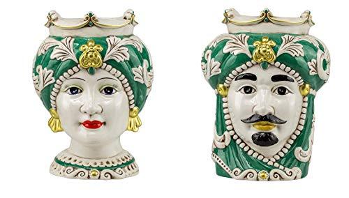 ILAB Coppia teste di moro regina e re in ceramica siciliana harmony decorata a mano verde,altezza 32cm,soprammobili in ceramica,ceramica siciliana