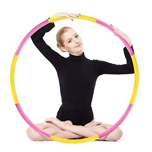 Hula Hoop zur Gewichtsreduktion,Reifen mit Schaumstoff ca 1,2 kg Gewichten Einstellbar Breit 48–88 cm beschwerter Hula-Hoop-Reifen für Fitness (4 Knoten Rot + Gelb)