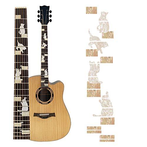 Pegatinas para diapasón de guitarra, adhesivo para mástil, pegatinas para ukelele, instrumentos musicales, decoración, accesorios (gato)
