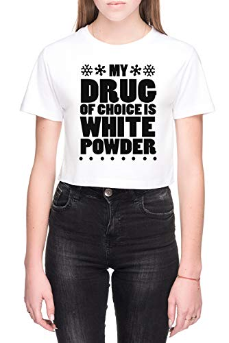My Drug Of Choice Is White Powder Dames Crop T-Shirt Wit Women's Crop T-Shirt White