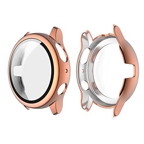 Romacci Capa de revestimento para PC rígido com protetor de tela de vidro temperado HD Cobertura completa Capa protetora fina e transparente Substituição da capa do pára-choque para Samsung Galaxy Watch Active 2 40mm Rose Gold