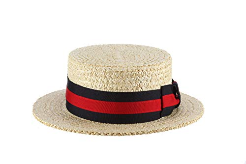 SCALA Men's Dress Straw 1 Piece 10/11Mm Laichow Braid Boater Hat (Medium), Bleach