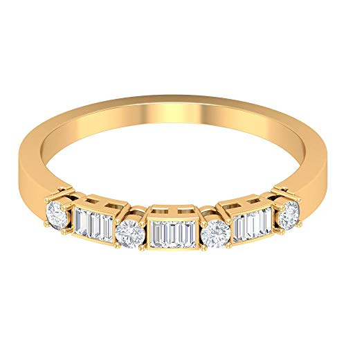 Único anillo de boda nupcial, anillo de corte baguette, HI-SI 0,23 quilates anillo de diamante, anillo de media eternidad, anillo de aniversario, anillo de dama de honor, 14K Oro amarillo, Size:EU 54